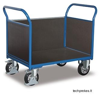Rankinis vežimėlis sunkiasvoriam kroviniui (1000 kg) su neslystančiu plokštės paviršiumi ir trims bortais 1397x800 mm