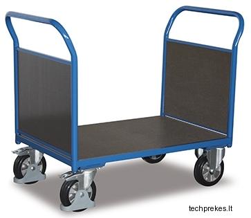 Rankinis vežimėlis sunkiasvoriam kroviniui (1000 kg) su neslystančiu plokštės paviršiumi ir dviems bortais 2197x800 mm