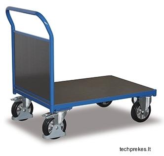Rankinis vežimėlis sunkiasvoriam kroviniui (1000 kg) su neslystančiu plokštės paviršiumi ir vienu bortu 1128x700 mm