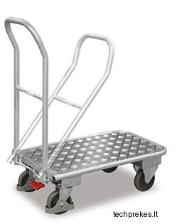Aliuminis vežimėlis su sulenkama rankena ir EasySTOP stabdžiu 820x470 mm