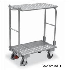 Dviejų lentynų aliumininis vežimėlis su dviem sulenkamomis rankenomis ir EasySTOP stabdžiu 855x470 mm
