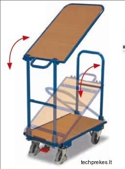 Dviejų lentynų vežimėlis su dviem sulenkamomis rankenomis ir EasySTOP stabdžiu 855x470 mm