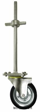 Reguliuojama pastolių koja su ratuku T26x400 (200 mm ratukas)