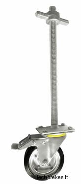 Reguliuojama pastolių koja su ratuku T26x500 ir stabdžiu (200 mm ratukas)
