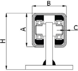 Fiksuotas vežimėlis be aukščio reguliavimo 30x30 mm profiliui (60 kg)