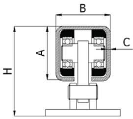 Svyruojantis vežimėlis be aukščio reguliavimo 60X60 mm profiliui (400 kg)