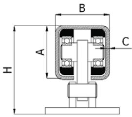 Svyruojantis vežimėlis be aukščio reguliavimo 60X60 mm profiliui (200 kg)