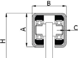 Pakabinamų vartų vežimėlis be pagrindo 30x30 mm profiliui (60 kg)